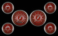 V8 Red Steelie Series Six Gauge Set - Classic Instruments - V8RS01SHC