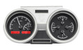 1966-67 Oldsmobile Cutlass VHX Gauges - Black Alloy Face - Red Display - Dakota Digital