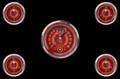 V8 Red Steelie Series Five Gauge Set - Classic Instruments - V8RS35SHC