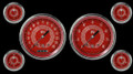 V8 Red Steelie Series Six Gauge Set - Classic Instruments - V8RS51SLC