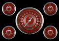 V8 Red Steelie Series Five Gauge Set - Classic Instruments - V8RS54SLC