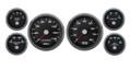 "New Vintage Black Performance Series 6 Gauge Kit ~ 3 3/8"" Speedo - 240-33 Fuel - 01640-01"