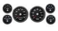 "New Vintage Black Performance Series 6 Gauge Kit ~ 3 3/8"" Speedo - 0-90 Fuel - 01649-01"