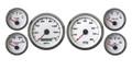 "New Vintage White Performance Series 6 Gauge Kit ~ 3 3/8"" Speedo - 240-33 Fuel - 01640-03"