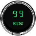 Intellitronix ~ LED Digital Boost Gauge in Chrome Bezel - Green