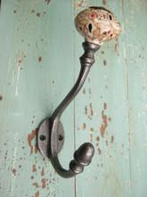 Cast Iron Painted Ceramic Tip Coat Hook