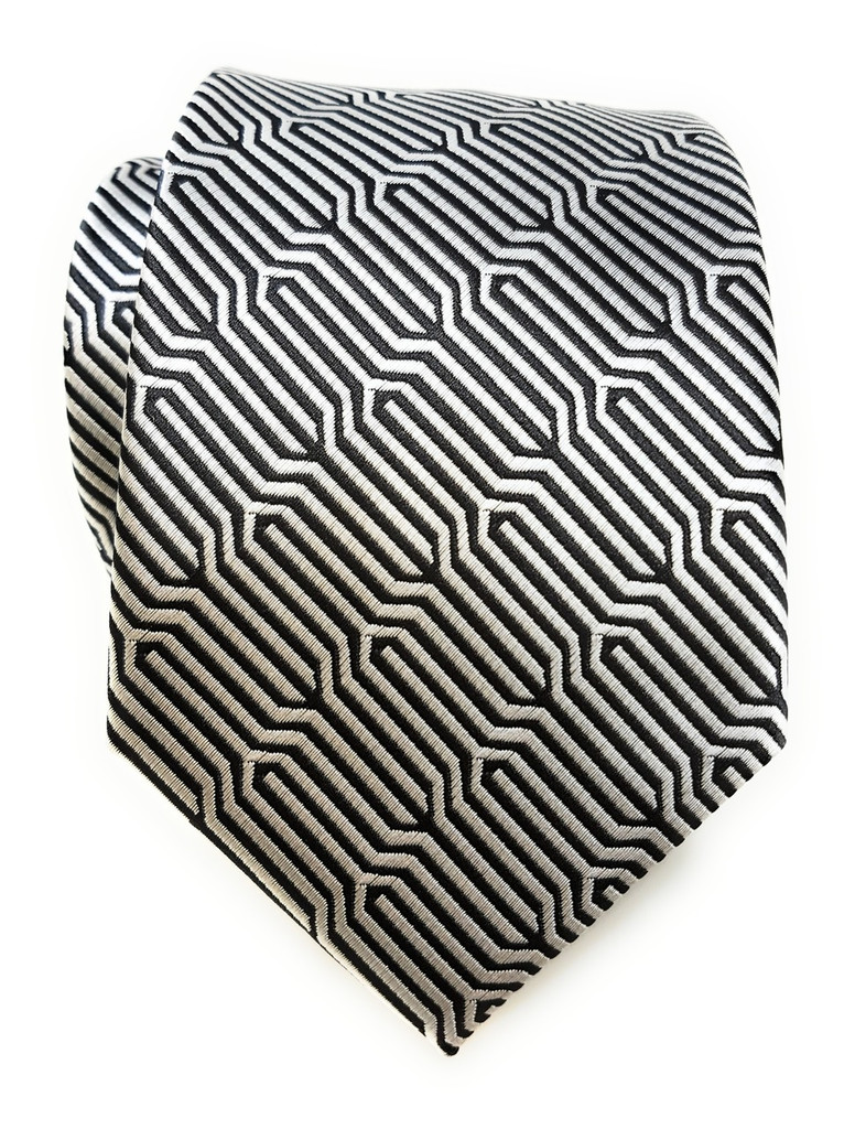 Labiyeur Geometric Ys Medium Men's Tie Necktie (Black/White)