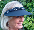Navy with White Stripe Jumbo Peak Plaited Visor