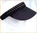 Black Two Row Band Swarovski Clip On Visor
