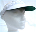 White Plaited Visor with Green under Standard Peak