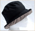 Black Wax Hat with Cream & Black Medium Brim
