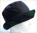 Navy Wax Hat with Green Tartan Medium Brim