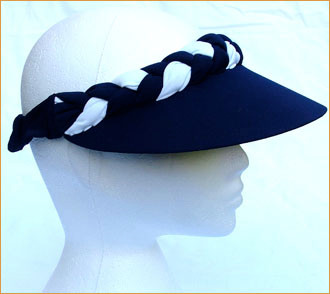 Navy with White Jumbo Peak Plaited Sun Visor - Hats and Visors by ... f6fe73c0a01f