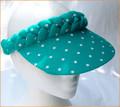 Turquoise with White Spots Standard Peak  Plaited Visor