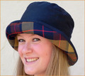 Navy Wax Hat with Mustard Red Tartan Medium Brim