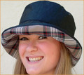 Black Wax Hat with Beige Tartan Large Brim