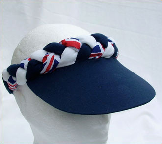 Navy Peak Union Jack Plaited Visor - Hats and Visors by Sunwiser 2b21efafa914