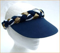 Navy Nautical Style Standard Peak Plaited Visor