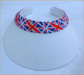 White Clip On Visor with Union Jack Band