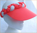 Coral with White Plaited Visor