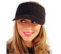 Black Acrylic Knitted Peak Visor