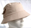 Beige UV Unisex Sun Hat with 2 pockets