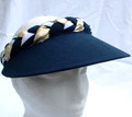 Navy Nautical Style Plaited Jumbo Peak Visor