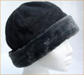 Grey Fleece Cloche Hat with Faux Fur Brim
