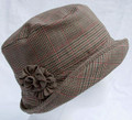 Cloche Tweed Hat, Prince of Wales with Tweed Flower