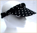 Black with White Polka Dot Standard Peak Plaited Sun Visor