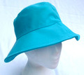 Turquoise Cotton Sun Hat with Button Detail