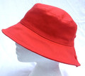 Coral Bucket Cotton Sun Hat with Button Detail