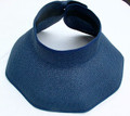 Navy Straw Effect Paper Wrap Around Visor
