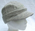 Light Grey Cable Knit Peak Beanie