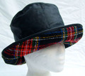 Navy Wax Hat with Boucle Tartan Brim