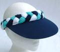 Navy Turquoise & White Standard Peak Plaited Visor
