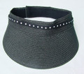 Black Straw Swarovski Visor with Velcro Back