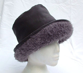 fad4c1a75a7 Mid Grey Wax Hat with Faux Persian Lamb - Hats and Visors by Sunwiser