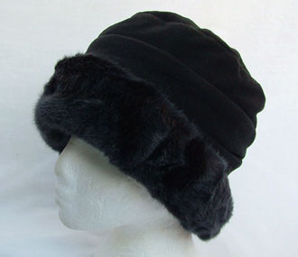 0224bd15fdc Black Fleece and Faux Fur Hat - Hats and Visors by Sunwiser