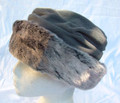 Grey Fleece Hat with Faux Fur Brim