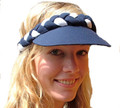 Navy and White Plaited Sun Visor