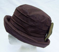 Brown Ruched Wax Hat with Bow
