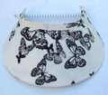 Black Butterflies with Swarovski on Cream Jumbo Peak Flexi Visor