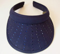 Sunburst Navy Clip On Visor, Navy Rhinestones