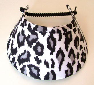 White with Black Leopard Print Jumbo Print Flexi Visor - Hats and ... a11e710ee5e1