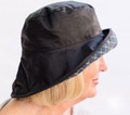 Black Wax Sowester Hat with Tartan Underbrim