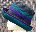 Navy Wax Hat with Teal & Purple Bands