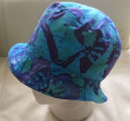 Deep Turquoise Batik Bucket Hat Reversible White Towelling