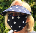 Navy Polka Dot  Face Mask & Matching Flexi Visor