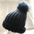 Navy Pom Pom Beanie with a Line of Swarovski